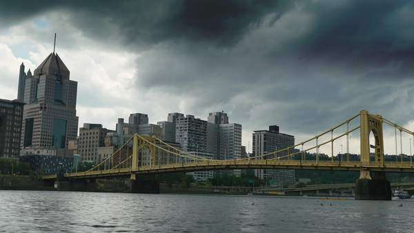 A timelapse shot of summer thunderstorm rapidly approaching over the Allegheny River and downtown Pittsburgh, PA. Royalty-free stock video