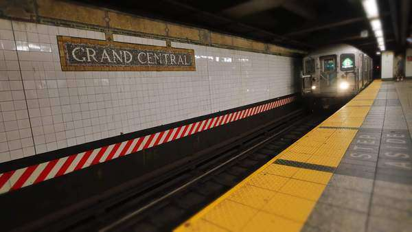 A subway approaches the platform at Grand Central Station. Royalty-free stock video