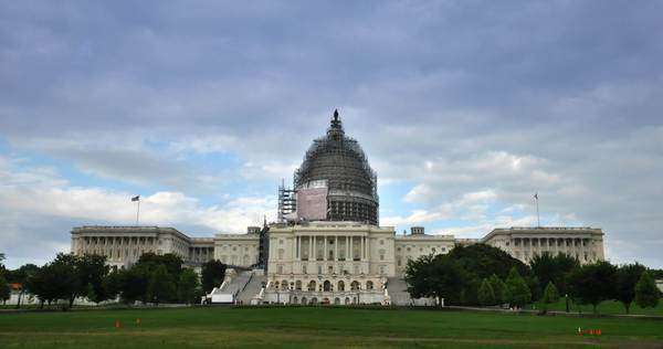 A timelapse view of the United States Capitol while the dome was under renovation. Royalty-free stock video