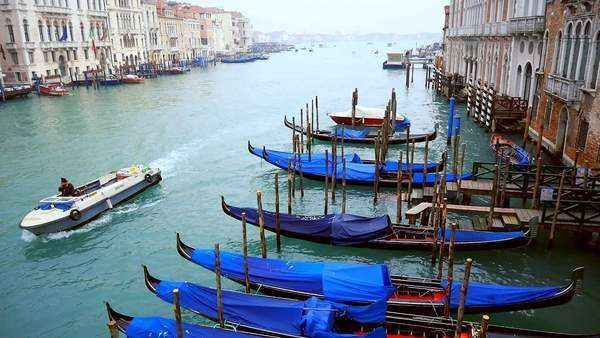 Aerial shot of Gondola boats and water in Venice Italy Royalty-free stock video