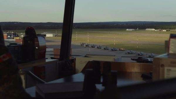 POV shot of an airport from a control tower Royalty-free stock video