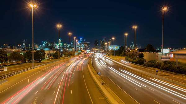 Hyperlapse of highway traffic and cityscape Royalty-free stock video