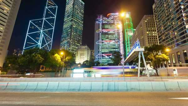 Hyperlapse of the central business district of Hong Kong Royalty-free stock video
