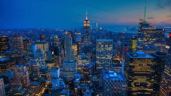 A beautiful timelapse from night to day in the heart of Manhattan Royalty-free stock video