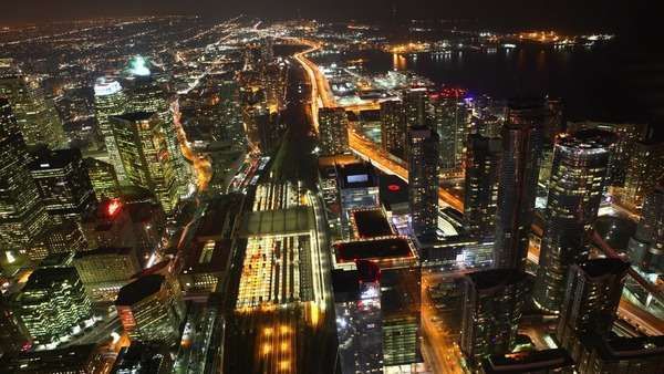 A timelapse aerial of traffic in Toronto, Canada at night Royalty-free stock video