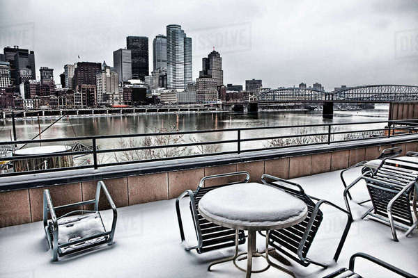 Cold lunch at Pittsburgh waterfront Royalty-free stock photo