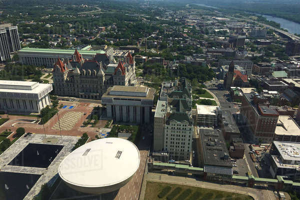 Aerial view of state legislature in Albany Royalty-free stock photo