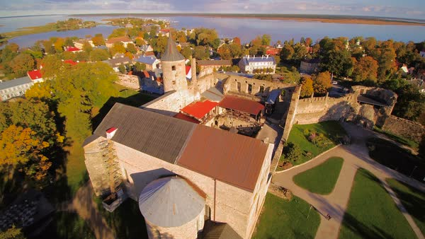 The old medieval castle spot in Haapsalu, Estonia Royalty-free stock video