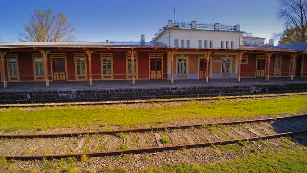The railways and the train station in Haapsalu, Estonia Royalty-free stock video