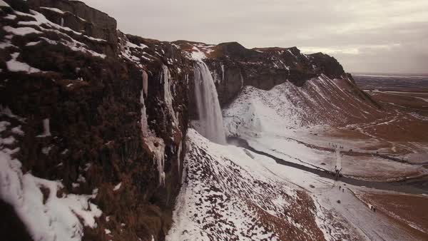 Aerial waterfalls in Iceland.  Rights-managed stock video