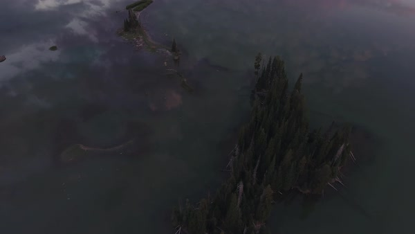 Sparks Lake Oregon aerial, sunrise reveal shot Rights-managed stock video