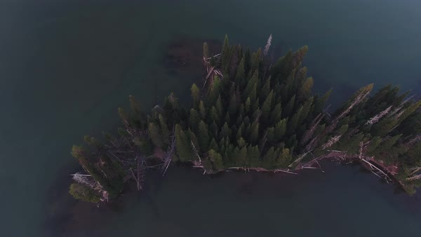 Sparks Lake Oregon aerial, sunset reveal shot Rights-managed stock video
