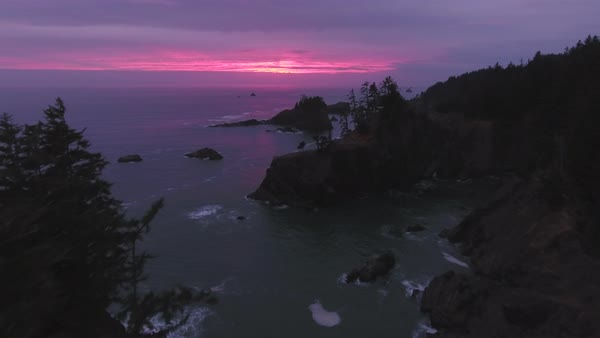 Oregon coast sunset flight aerial Rights-managed stock video
