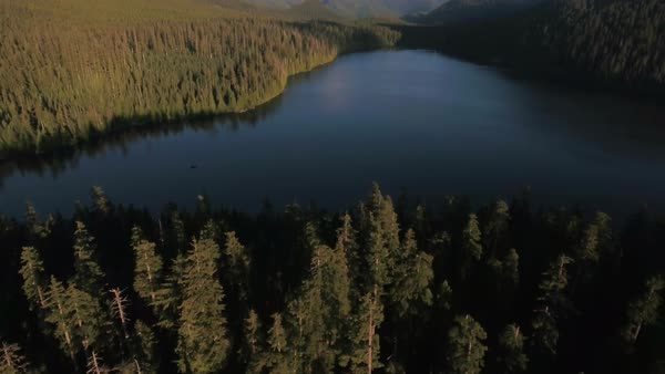 Mount Hood aerial lake reveal Rights-managed stock video
