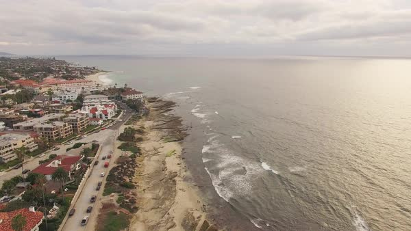 La Jolla Coves, Coast Aerial Flyby Rights-managed stock video