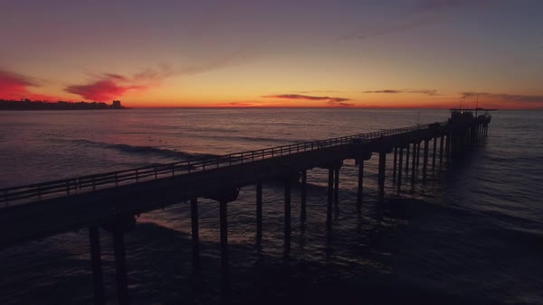 Aerial Fly Over San Diego Pier Rights-managed stock video