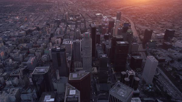 Los Angeles aerial city overview at sunset. Rights-managed stock video