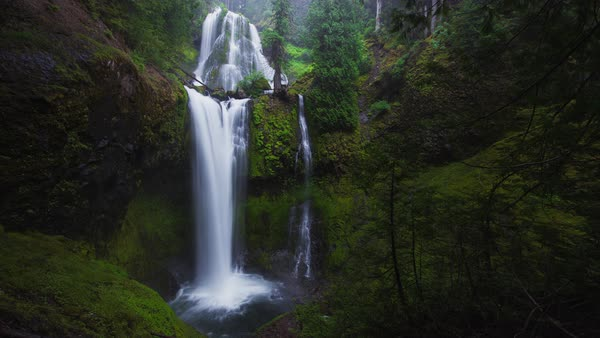 Falls Creek Falls, misty waterfall timelapse taken in Washington. Rights-managed stock video