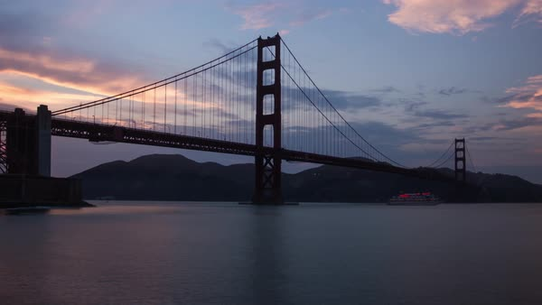 Golden gate bridge sunset hyperlapse Rights-managed stock video