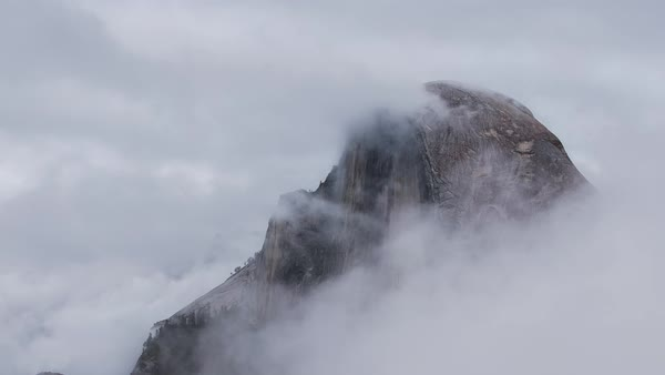 Yosemite Half Dome Fog Storm Timelapse Rights-managed stock video