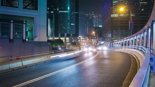 Hong Kong Road at Night Timelapse Royalty-free stock video