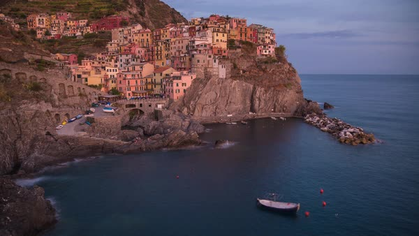 Manarola, Cinque Terre Italy, Day to Night, Sunset Timelapse Rights-managed stock video