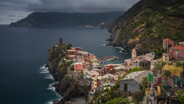 Vernazza, Cinque Terre Italy, Cliff City Coastal View Timelapse Rights-managed stock video