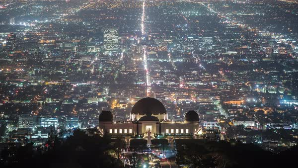 Griffith Park, Los Angeles City View Night Timelapse Rights-managed stock video