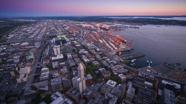 Seattle City Harbor from Above, Day to Night Timelapse Rights-managed stock video