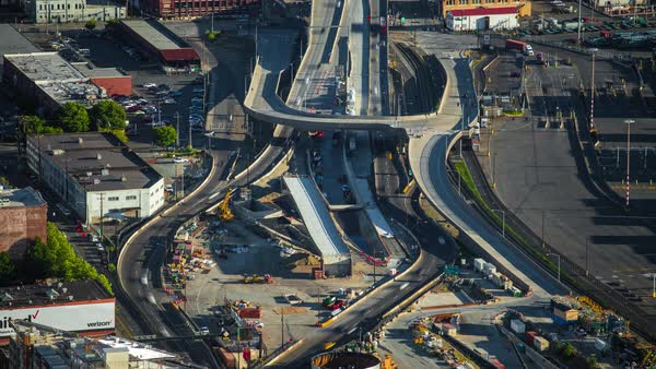 Seattle Freeway Construction Birds Eye View Timelapse Rights-managed stock video