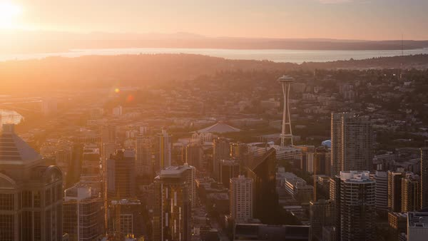 Sunset Seattle Skyline and Space Needle Timelapse Rights-managed stock video