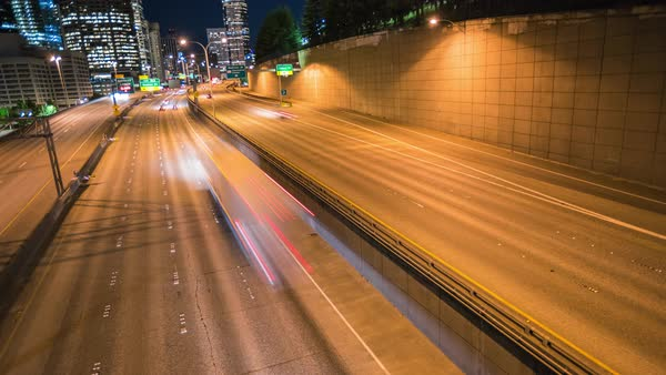 Seattle Skyline Freeway Tilt Timelapse Rights-managed stock video