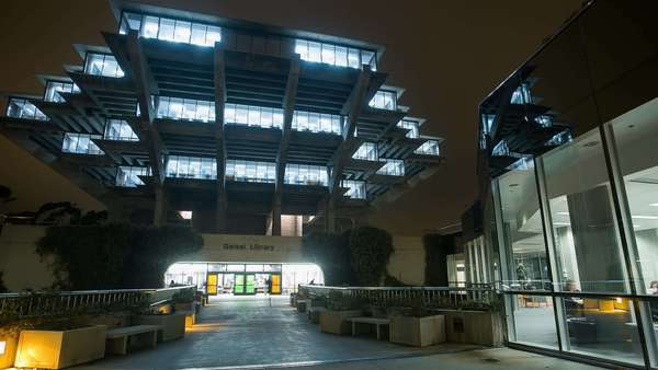 Timelapse 3 axis shot of San Diego La Jolla, UCSD library at night. Rights-managed stock video