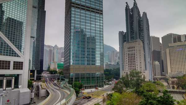 Cloudy sky panoramic timelapse from Hong Kong city center Royalty-free stock video