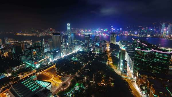 Night light city scape timelapse from Hong Kong China Royalty-free stock video