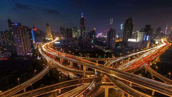 Sunset traffic interchange crossroad timelapse from Shanghai Royalty-free stock video
