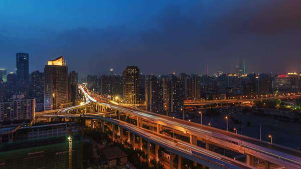 Colored evening Shanghai light traffic roads timelapse Royalty-free stock video