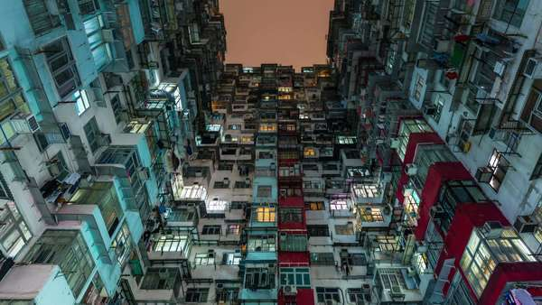 Hang Kong city living apartment building day till night timelapse China Royalty-free stock video