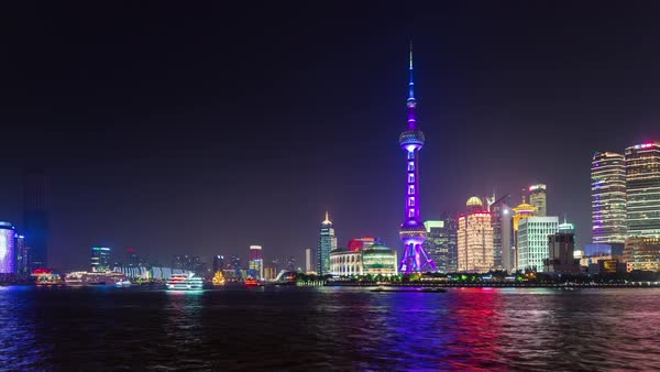 Night illumination shanghai city bay tourist ship panorama 4k time lapse china Royalty-free stock video