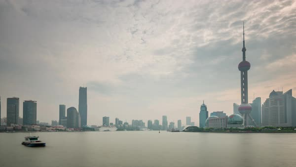 Rainy sunset sky shanghai city river bay panorama 4k time lapse china Royalty-free stock video