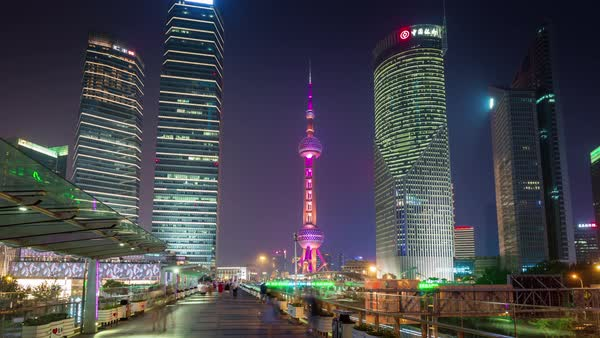 Night shanghai downtown park walk tower panorama 4k time lapse china Royalty-free stock video