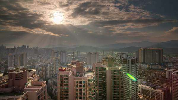 Sunset light Shenzhen roof top round panorama, timelapse Royalty-free stock video