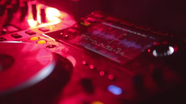 Hand-held shot of a DJ console Royalty-free stock video