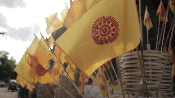 Close-up shot of Dharmachakra flags in Thailand Royalty-free stock video