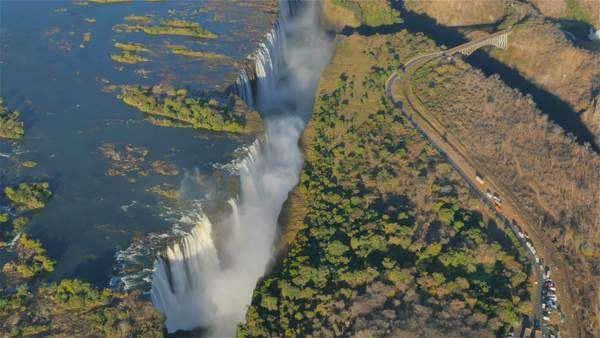 Aerial view of Victoria Falls. Royalty-free stock video