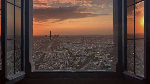 Paris skyline seen from an open window, aerial day to night timelapse. Royalty-free stock video
