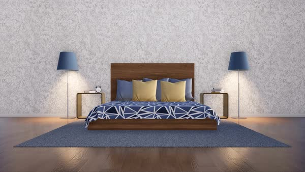 Simple Symmetric Bedroom Interior In Modern Minimalist Design Style With  Double Bed, Two Night Tables
