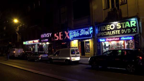 Sex Shop In Paris France At Night Royalty Free Stock Video