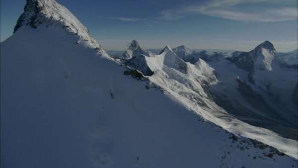 Aerial shot of mountain peaks in the Swiss Alps Royalty-free stock video