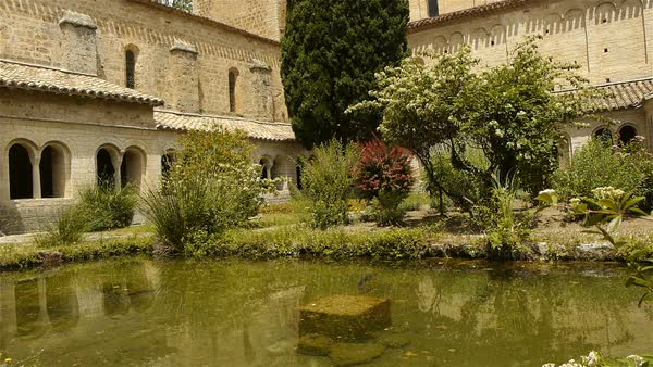 Courtyard at abbey St Guilhem le Desert, Cevennes France Royalty-free stock video